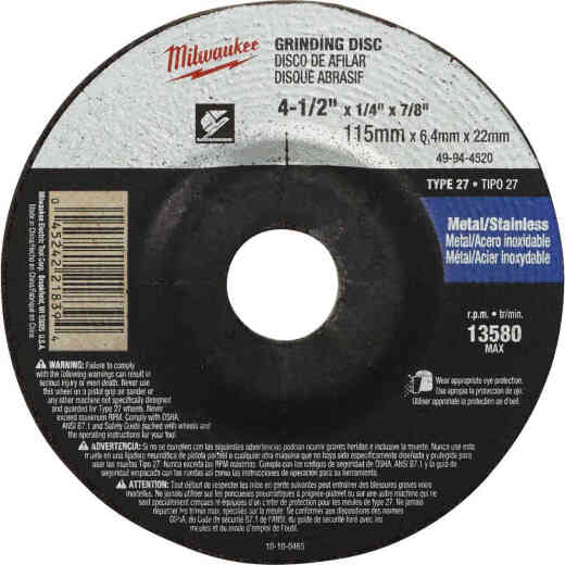 Milwaukee Type 27 4-1/2 In. x 1/4 In. x 7/8 In. Metal/Stainless Grinding Cut-Off Wheel