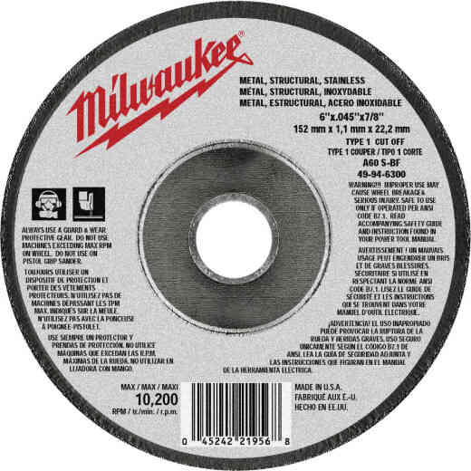 Milwaukee Type 1 6 In. x 0.045 In. x 7/8 In. Metal/Stainless Cut-Off Wheel
