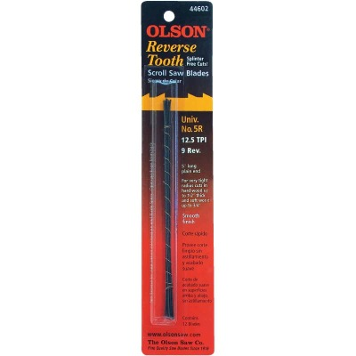 Olson 12.5TPI Reverse Tooth Plain End Scroll Saw Blade (12 Count)