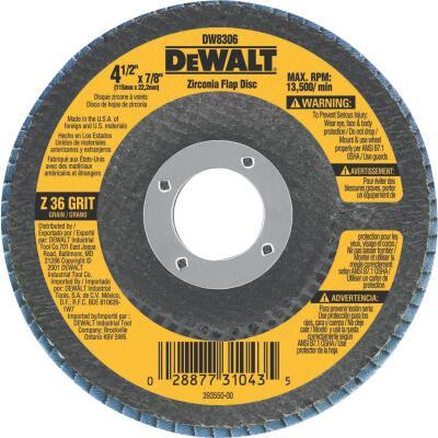 DeWalt 4-1/2 In. 36-Grit Type 29 High Performance Zirconia Angle Grinder Flap Disc