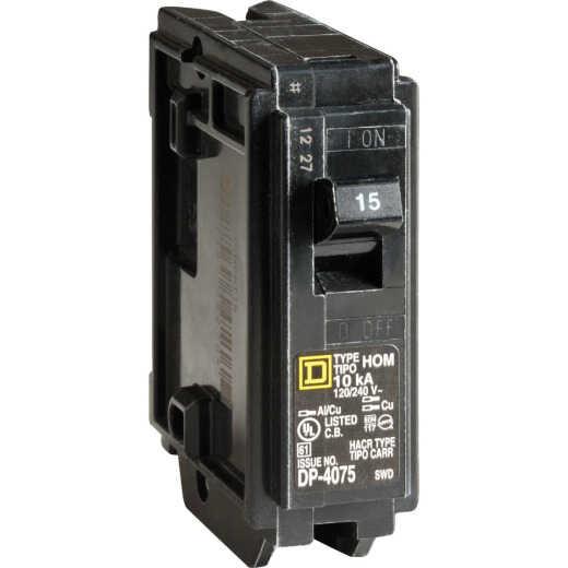 Square D Homeline 15A Single-Pole Standard Trip Circuit Breaker